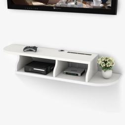 2 Tier White Wall Mount Floating Shelf TV Console for Cable